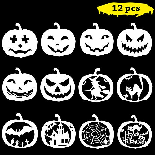 Unime Halloween Stencils Template,DIY Decorative Wall Stencil for Painting Drawing Reusable Laser Cut Stencils Art for Fabric Floor Furniture Wood Ceramic Tile and Home Decoration,12 Pack