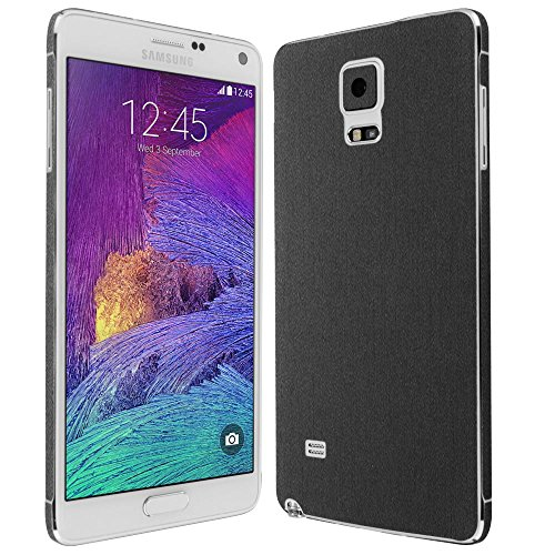 4 Screen Protector + Brushed Steel Full Body, Skinomi TechSkin Brushed Steel Skin for Samsung Galaxy Note 4 with Anti-Bubble Clear Film Screen ()
