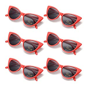 6 Packs Vintage Cat Eye Sunglasses Retro Kurt Cobain Sunglasses (red)