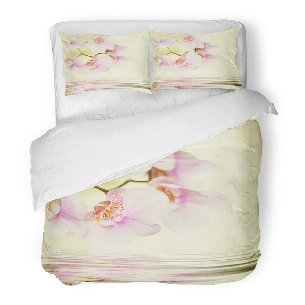 Emvency 3 Piece Duvet Cover Set Brushed Microfiber Fabric Breathable Spa Romantic Pink Orchid Flower Reflected in Water Beauty Closeup Pastel Bloom Bedding Set with 2 Pillow Covers Full/Queen Size
