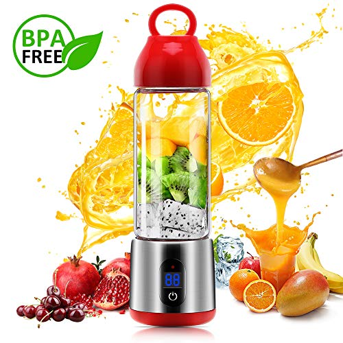 Personal Glass Smoothie Blender, USB Rechargeable Portable Blender Juicer Cup, Multifunctional Small Travel Personal Blender for Shakes and Smoothies, Single Serve Fruit Mixer, Easy One Touch Operation, Great for Sports, Travel, Gym and Office (Red) (The Best Juicer Blender)