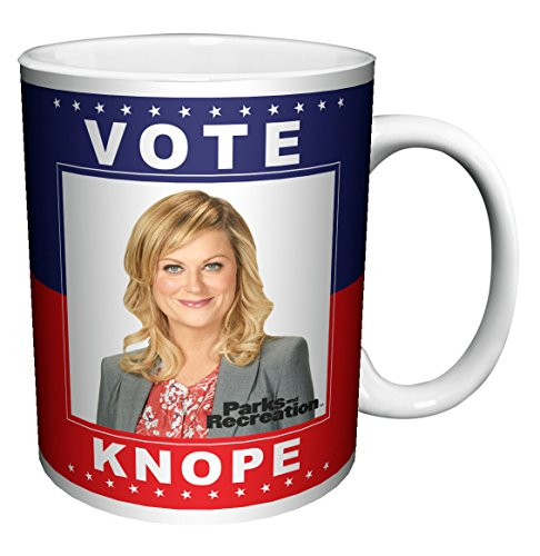 Parks and Recreation Leslie Knope (Amy Poehler) Vote Knope Workplace Comedy Tv Television Show Ceramic Gift Coffee (Tea, Cocoa) 11 Oz. Mug -