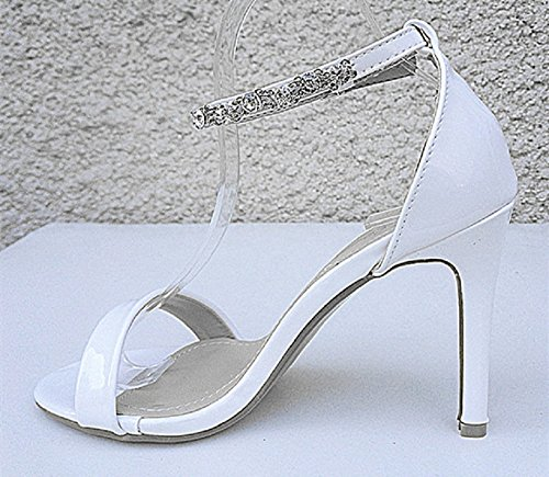 fashionfolie Femme Escarpins Mariage Talon Aiguille Strass Sandale Diamant Bout Ouvert Cérémonie 3721 Blanc KROaVLL