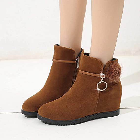 Amazon.com: Sunsee 2019 Christmas Promotion Women Symposium Suede Hairball Wedges Shoes Pure Color Zipper Diamond Boots: Clothing