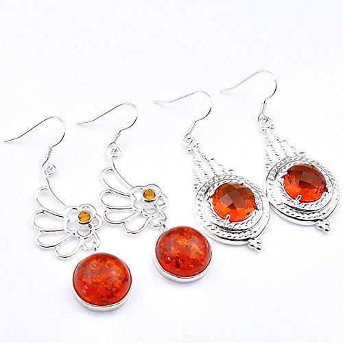 patcharin shop Mix 2 pcs 1 Lot Fire Amber Honey Brazil Citrine Gems Silver Dangle Earrings (Amber Earrings Mix)