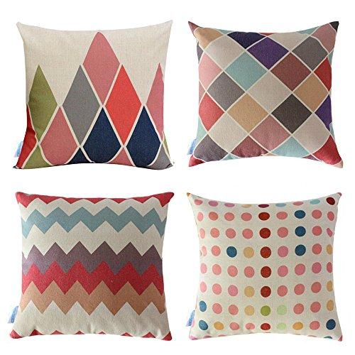 """WOMHOPE 4 Pcs - 17"""" Colorful Geometry Style Cotton Linen Squ"""