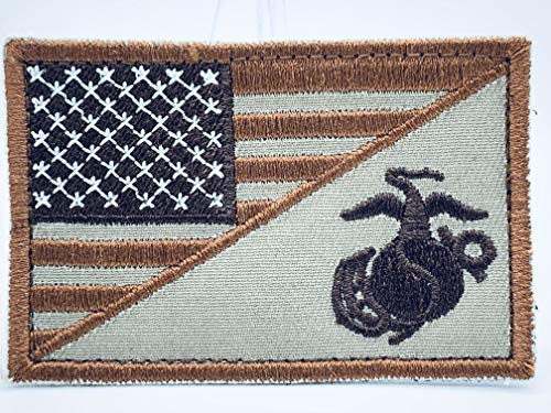 (United States Marine Corps USMC & American Flag Patch in Coyote Brown)