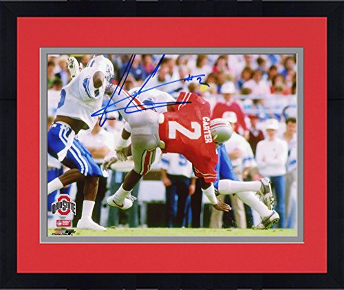 Framed Cris Carter Ohio State Buckeyes Autographed 8'' x 10'' vs. BYU Cougars Falling Photograph - Fanatics Authentic Certified (Photograph Cris Carter)