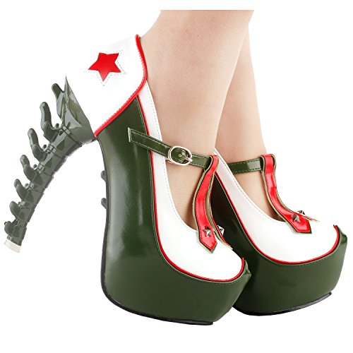Platform Army Green Ladies Green Club Show Party Star White LF80662 Pumps Story Heel Bone Red 0E46Ewxgq