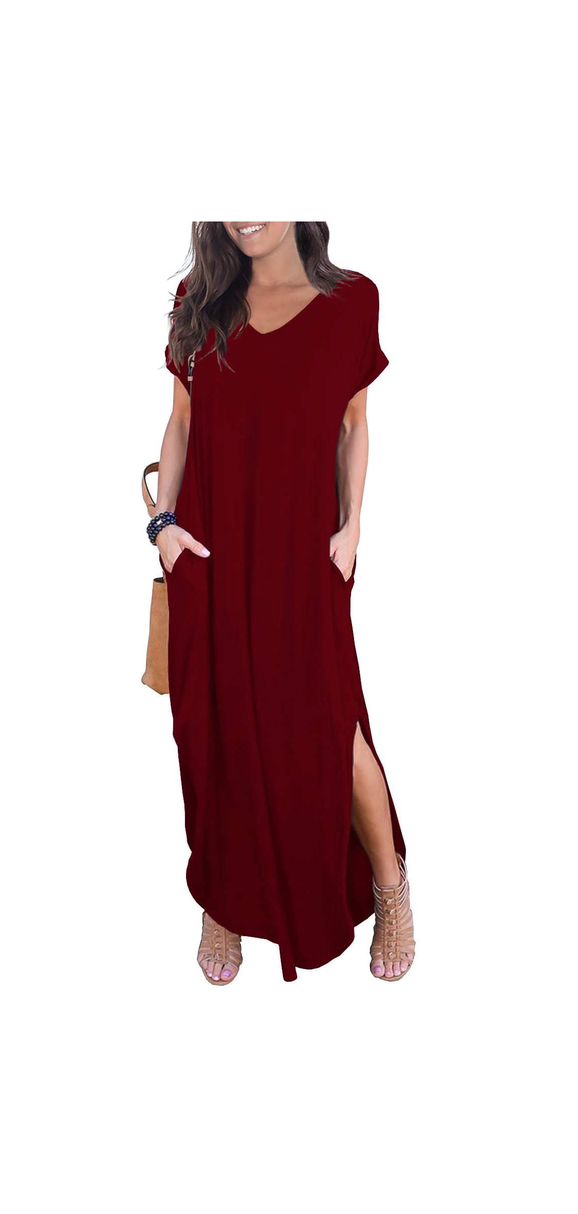 Women's Casual Loose Pocket Long Dress Short Sleeve