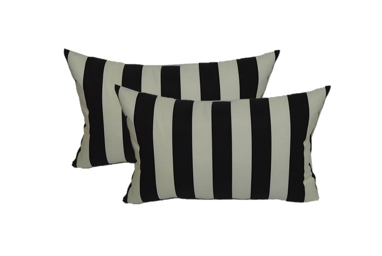 Set of 2 Indoor / Outdoor Decorative Lumbar / Rectangle Pillows - Black and White Stripe Fabric - Choose Size (11'' x 19'')