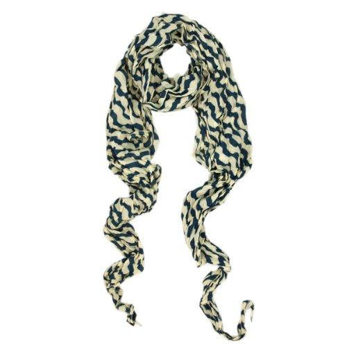 (Premium Lightweight Long Crinkle Stripe Scarf, Blue)