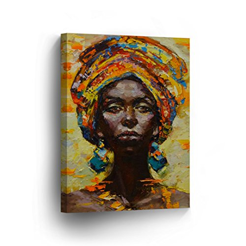Traditional African Woman Portrait Oil Painting CANVAS PRINT Decorative Art Wall Decor Artwork Wrapped Wood Stretcher Bars - Ready To Hang %100 Handmade in the USA - (Woman Portrait Oil Painting)
