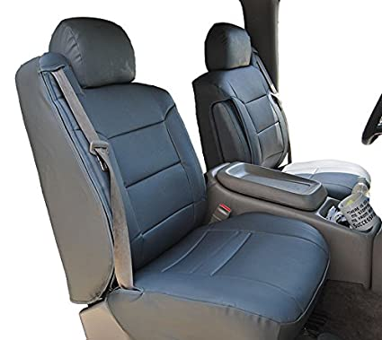2000 2002 CHEVY SILVERADO CHARCOAL Artificial Leather Custom Made Original Fit FRONT Seat Covers