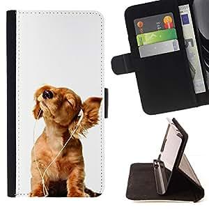 Momo Phone Case / Flip Funda de Cuero Case Cover - Golden Retriever música blanca del perrito; - HTC One Mini 2 M8 MINI