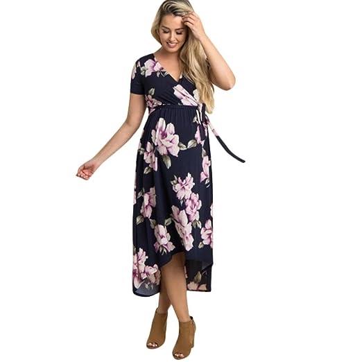 K-youth Vestido para Mujeres Embarazadas Vestidos de Maternidad Vestido Premama Manga Corta con Cuello en v Vestidos de Fiesta Mujer Vestidos Embarazada ...