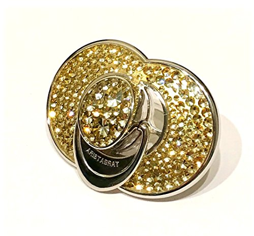 Keepsake Platinum Pacifier by Aristabrat Encrusted with Gold Swarovski Crystals - Encased Under Clear Lucite for Your Baby's Safety - Heirloom Quality-Includes Acrylic & Silver Jewel Box
