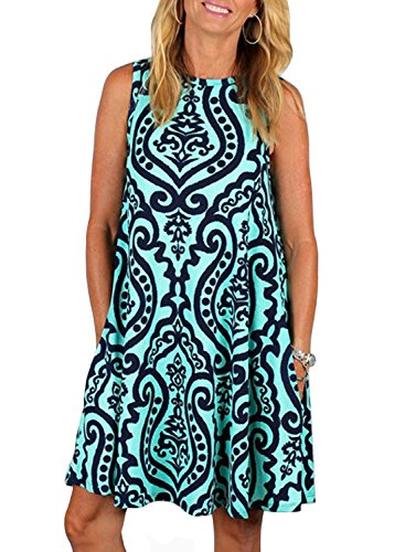 ZESICA Women's Summer Sleeveless Damask Print Pocket Loose T-shirt Dress, Green, Small