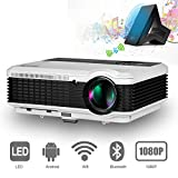 Bluetooth Projector for Android 1080P HD 3600 Lumens Wireless LCD Projector Home Theater Cinema, Multimedia LED Video Proyectors for Backyard Gaming Movies Sports