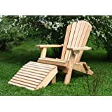 Folding Natural Cedar Adirondack Chair with Ottoman Footstool, Amish Crafted