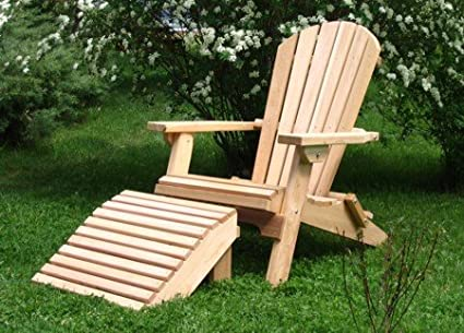 Amazon Folding Natural Cedar Adirondack Chair with Ottoman