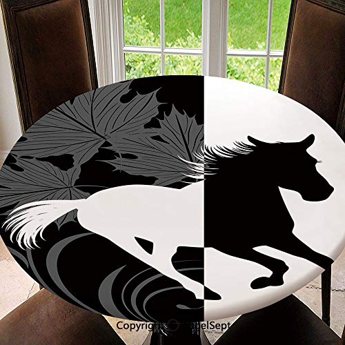 Embroidery Mustang (Elastic Edged Round Tablecloth Silhouette of Mustang in Monochrome Abstract Framework Maple Leaves Sprigs Decorative Polyester Washable Table Cover Kitchen Restaurant Party Decoration, Round - 63