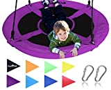Giant 40'' Saucer Tree Swing in Elite Purple - 400 lb Weight Capacity - Durable Steel Frame, Waterproof - Adjustable Ropes - Easy to Install - Bonus Flag Set and 2 Carabiners - Non-Stop Fun for Kids!