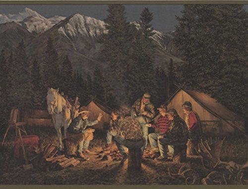 Mountain Night Camp Fire Horse Cowboys Tent Dark Green Trim Wide Wallpaper Border Retro Design, Roll 15