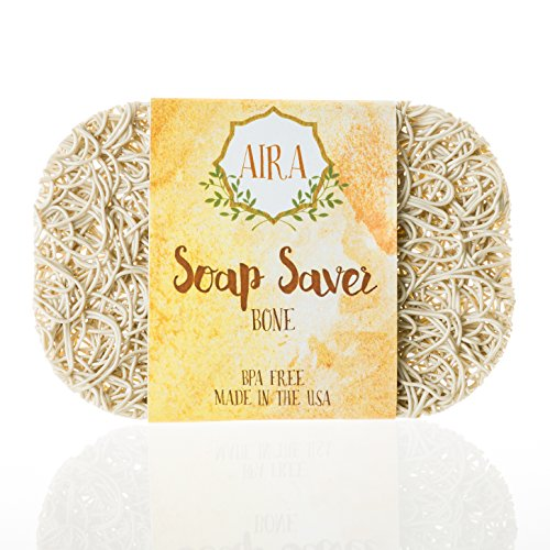 Aira Soap Saver - Soap Dish & Soap Holder Accessory - BPA Free Shower & Bath Soap Holder - Drains Water, Circulates Air, Extends Soap Life - Easy to Clean, Fits All Soap Dish Sets - Bone