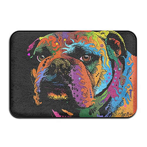 Bulldog Art Outdoor Rubber Doormat For Front Door Duty Outside Shoes Scraper Floor Door Mat For Porch Garage High Traffic Non Slip Entrance Rug Low Profile Soccer Ball Carpet Home Decor 40x60cm