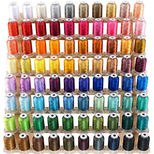Best Review Of New brothread 80 Spools Polyester Embroidery Machine Thread Kit 500M (550Y) Each Spoo...
