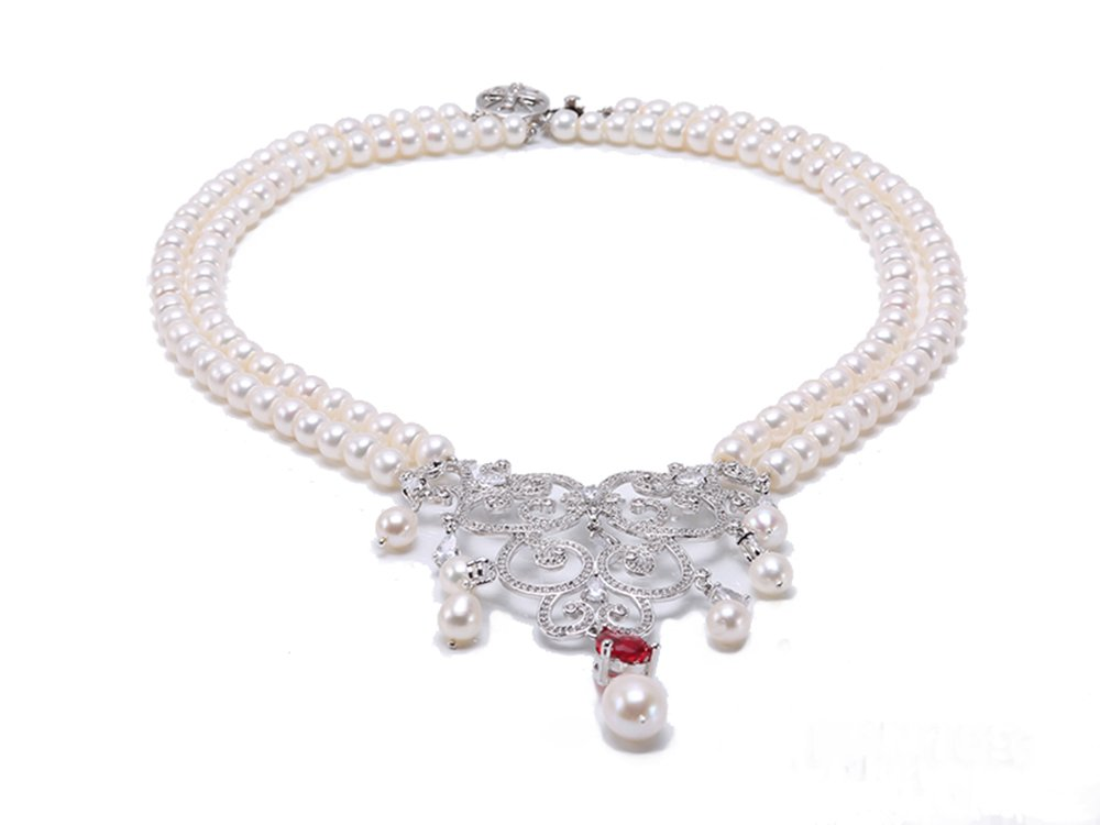 JYX Sterling Silver Two-row Flatly Round White Pearl Pendant Necklace (Red)