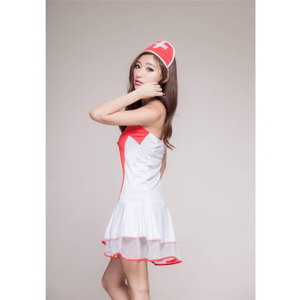 Top ShishangFalda de la enfermera de la lencería sexy sexy sexy pecho bajo cabestro uniforme juego de rol de cosplay club nocturno traje, rojo 9e1ebb