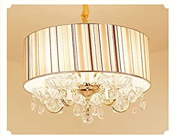 Modern Crystal Pendant Light in Cylinder Shade, Drum Style Home 4 Ceiling Light Fixture Flush Mount, Pendant Light Chandeliers Lighting for Bedroom, Living Room Rain Drop Decoration (6)