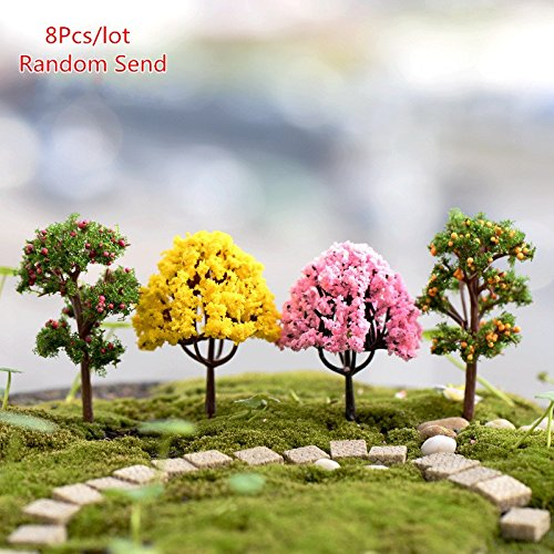 Katoot@ 8pcs/Lot Artificial Tree Miniature Plants Fairy Garden Gnome Moss Terrarium Decor For Crafts Bonsai Bottle Garden