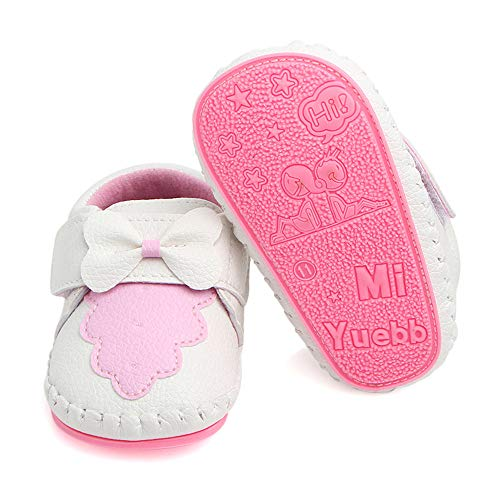 PanGa Baby Boys Girls Non-Slip Hard Bottom Rubber Sole Slippers Pu Leather Cartoon Sneakers Toddler Infant First Walkers Crib Shoes (12-18 Months M US Infant, A-White-Bow)