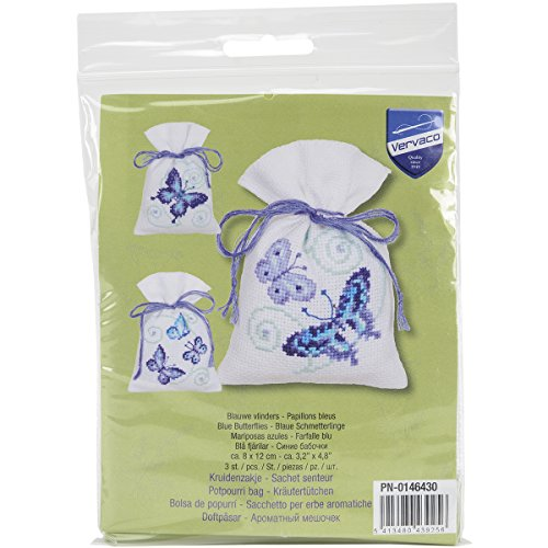 Vervaco Blue Butterflies Bags on Aida Counted Cross Stitch K