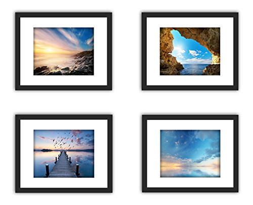 (XUFLY 4Pcs 11x14 Safety Tempered Glass Wood Frame Black, 3X Mat Fit Family Photo Pictures 8x10, 2 Holes 4x6, Certificate 8.5x11 inch Desktop Stand or Wall Hang Kids Painting Home Office Decoration)
