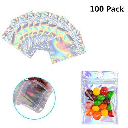 Price comparison product image 100 Pack Resealable Mylar Bags Smell Proof Pouch Aluminum Foil Packaging Plastic Ziplock Bag, Food Safe Small Mylar Storage Bags For Candy, Jewelry, Pill, Screw, 2.8x3.9inch(Holographic Rainbow Color)