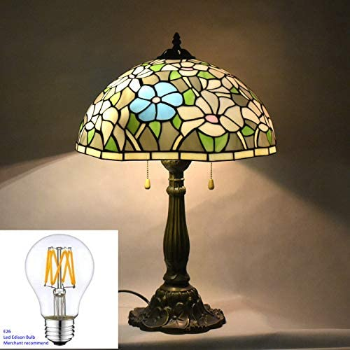 24 Inches Tall Tiffany Style Lamps Water Lily Table Desk Lighting Stained Glass 16 Inches Wide Lamp Shade Dale Unique Victorian Light for Living Bedside Coffee Room College Dorm