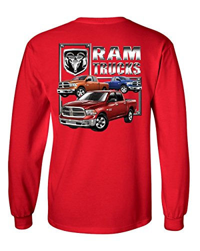 RAM Trucks HEMI Long Sleeve T-Shirt Dodge RAM 1500 2500 3500 American Truck Tee Red XL