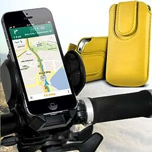 Nokia Lumia 928 premium protección PU botón magnético ficha de extracción Slip Cord En cubierta de bolsa Pocket Skin rápida Con universal de bicicletas Bike Mount Holder Soporte horquilla del soporte grados de rotación del manillar Soporte Amarillo 360 por Spyrox