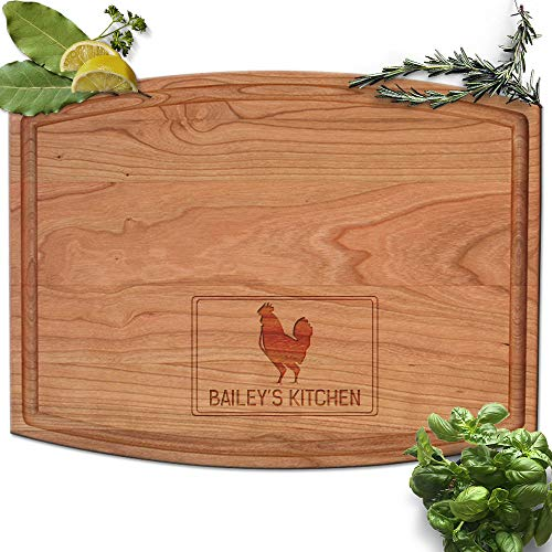 - Froolu Chicken Kitchen personalized cutting board for Monogram Engraving Housewarming Gifts