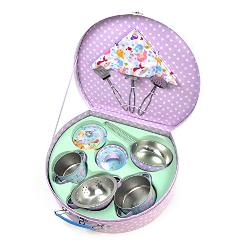 Floss & Rock Mermaid Chef's Kitchen Set - 10pc Miniature Cooking Set in Round Case by Floss & Rock