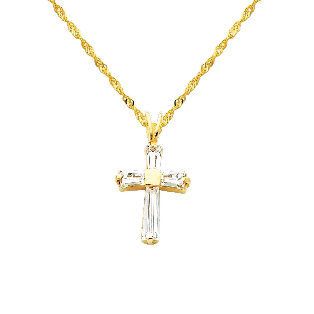 The World Jewelry Center 14k Yellow Gold CZ Religious Cross Pendant with 1.2mm Singapore Chain Neckalce