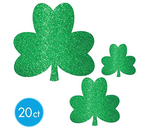 Shamrock Cut Out Decoration - Lucky Irish Green St. Patrick's Day Glittered Shamrock Cutouts Party Decoration Kit, Paper, Pack of 20