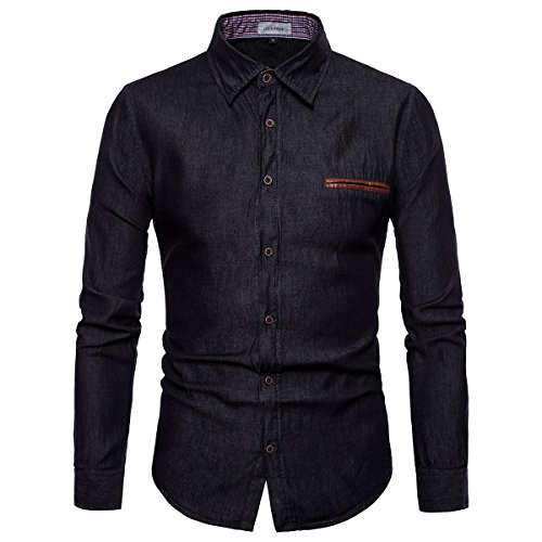 LOCALMODE Men's Casual Dress Shirt Button Down Jeans Shirt Fashion Denim Shirt Black L by LOCALMODE