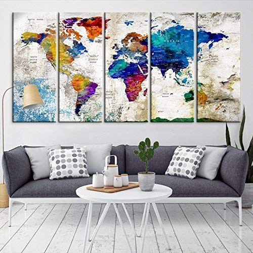 World Stretched Canvas - Modern Large Wall Art World Map Map Push Pin Canvas Print for Wall Decor - Wall Art Canvas Print for Home and Living Decoration - Ready to Hang - Wedding Guestbook Map Print - Personalized Map