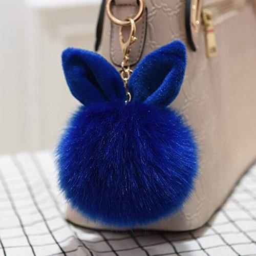 12 cm Rabbit Ears Fur Ball Bag Charms with Golden Keyring Pom Pom, Fluffy Fur Ball Keychain for Car Keyring, Charm Gift (Royal Blue)