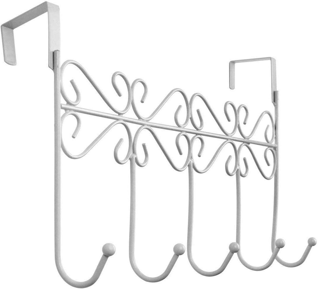 Youdepot Over The Door 5 Hanger Rack - Decorative Metal Hanger Holder for Home Office Use(White)